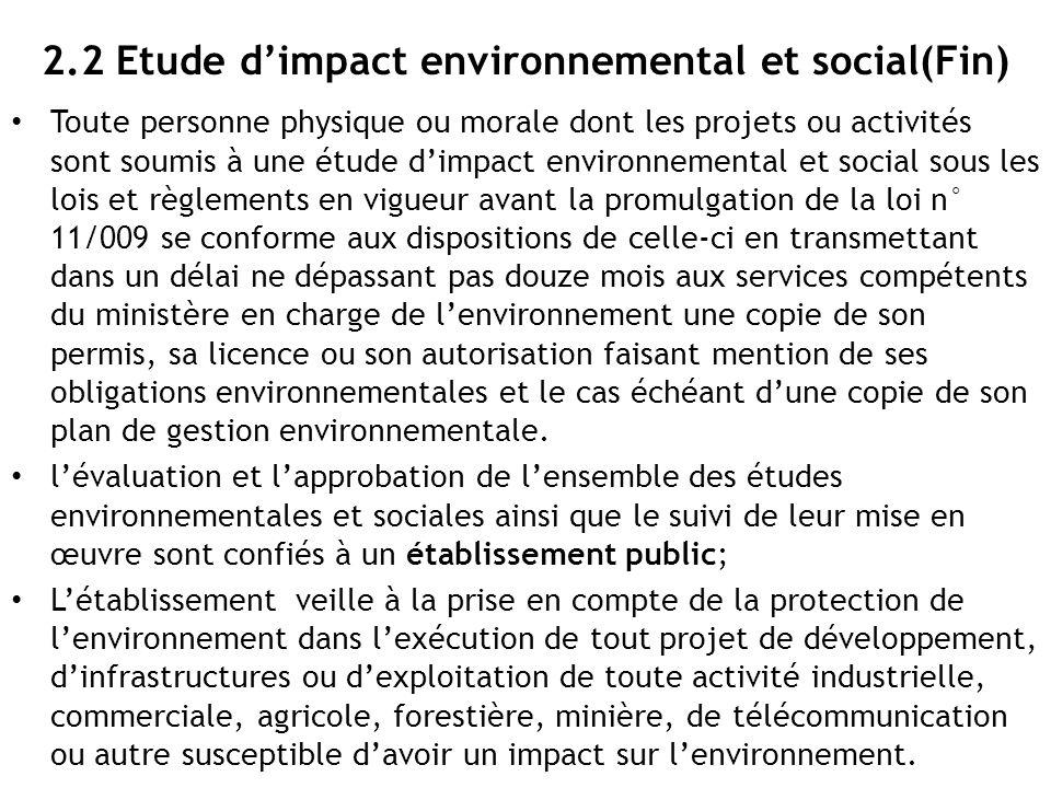 2.2 Etude d'impact environnemental et social(Fin)