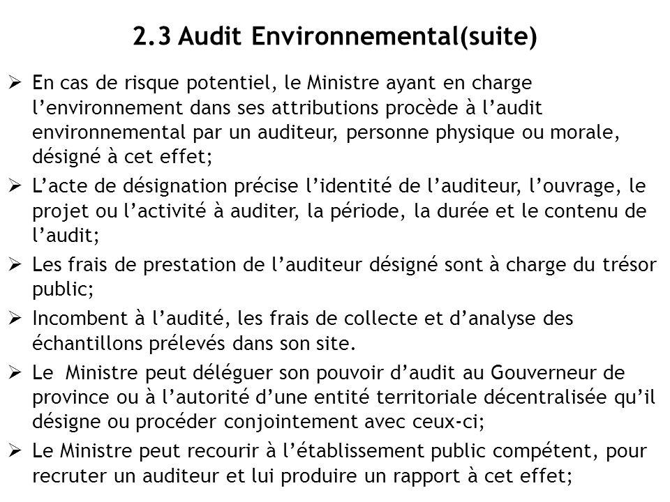 2.3 Audit Environnemental(suite)
