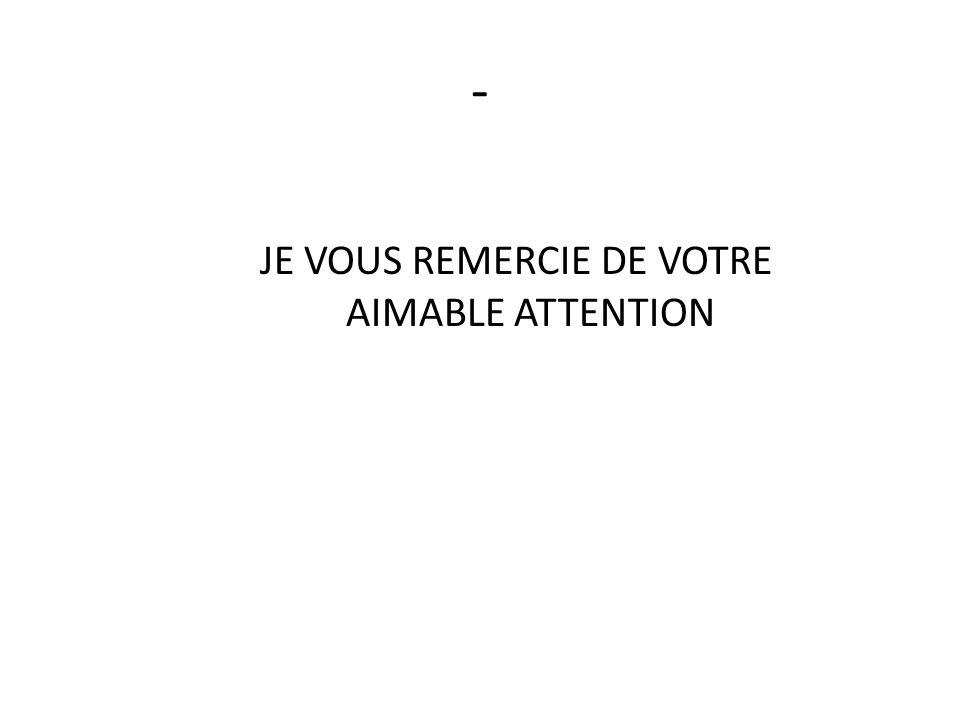 - JE VOUS REMERCIE DE VOTRE AIMABLE ATTENTION