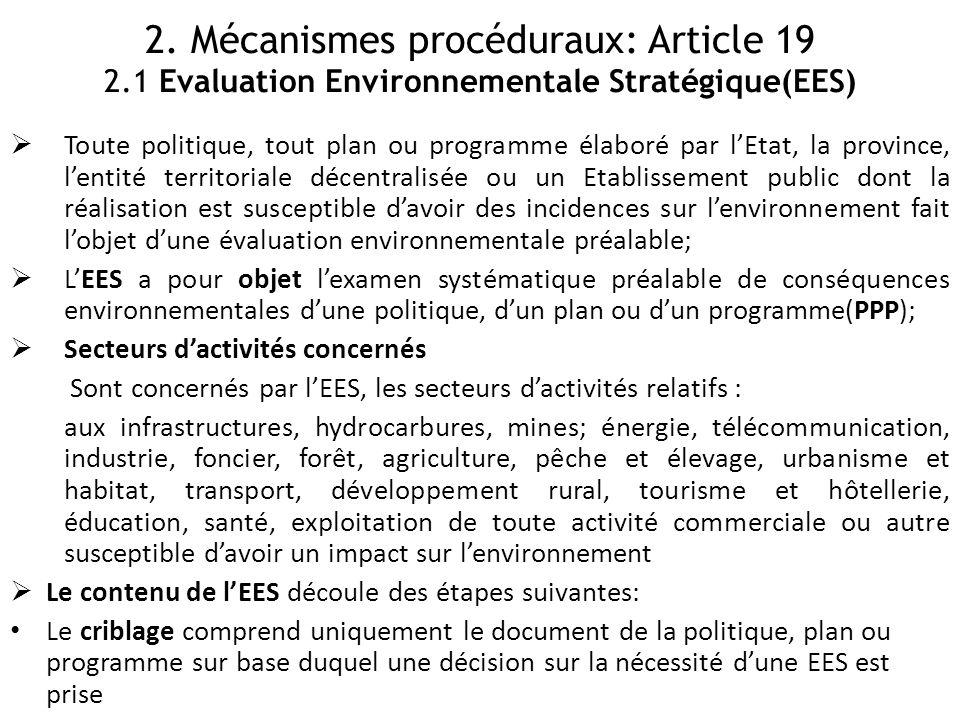 2. Mécanismes procéduraux: Article 19 2