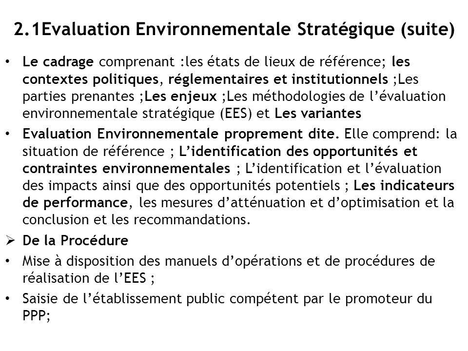 2.1Evaluation Environnementale Stratégique (suite)