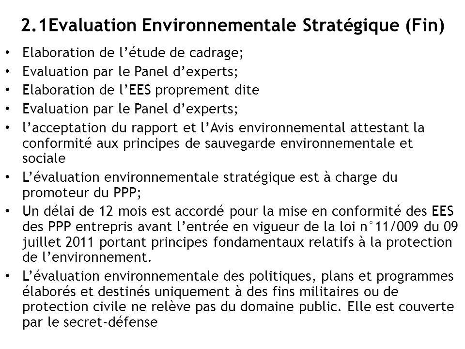 2.1Evaluation Environnementale Stratégique (Fin)