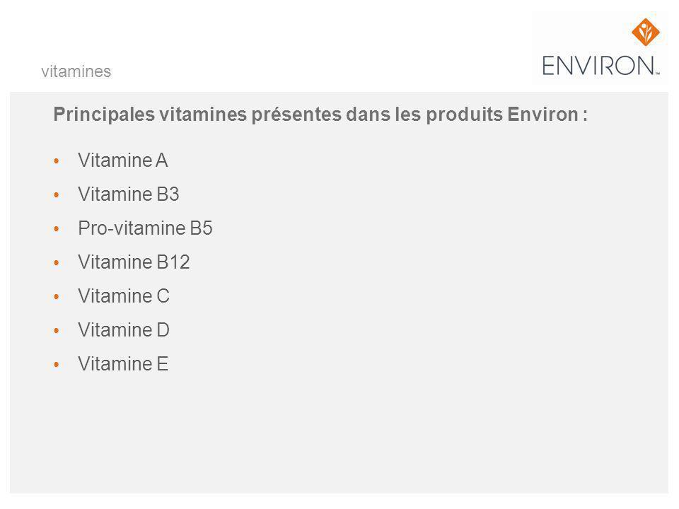 Principales vitamines présentes dans les produits Environ :