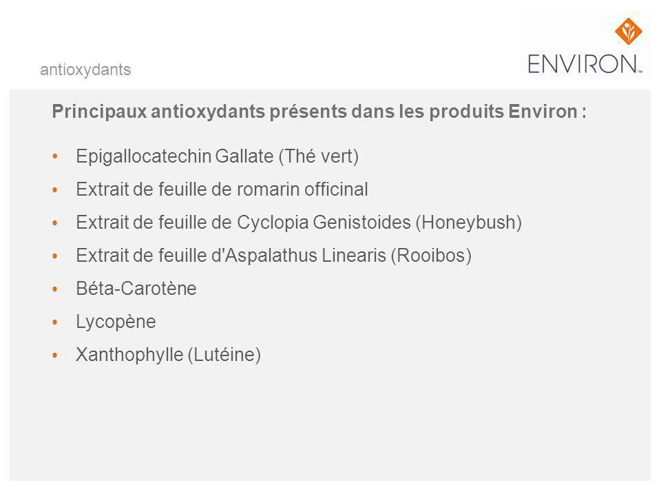 Principaux antioxydants présents dans les produits Environ :