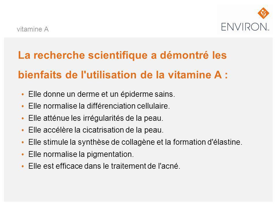 vitamine A La recherche scientifique a démontré les bienfaits de l utilisation de la vitamine A : Elle donne un derme et un épiderme sains.