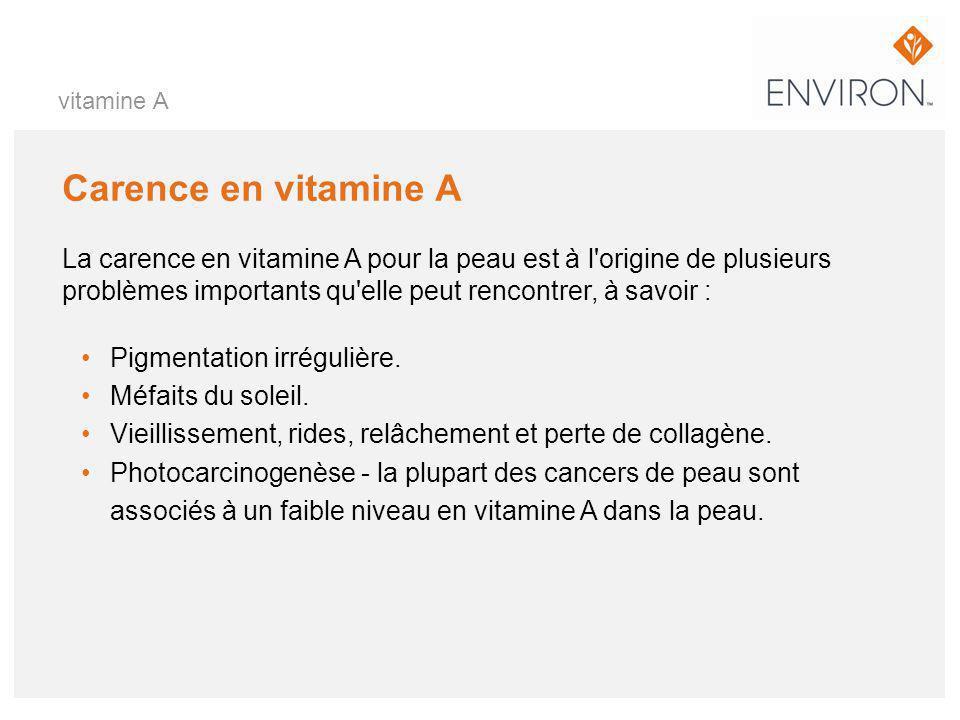 vitamine A Carence en vitamine A.
