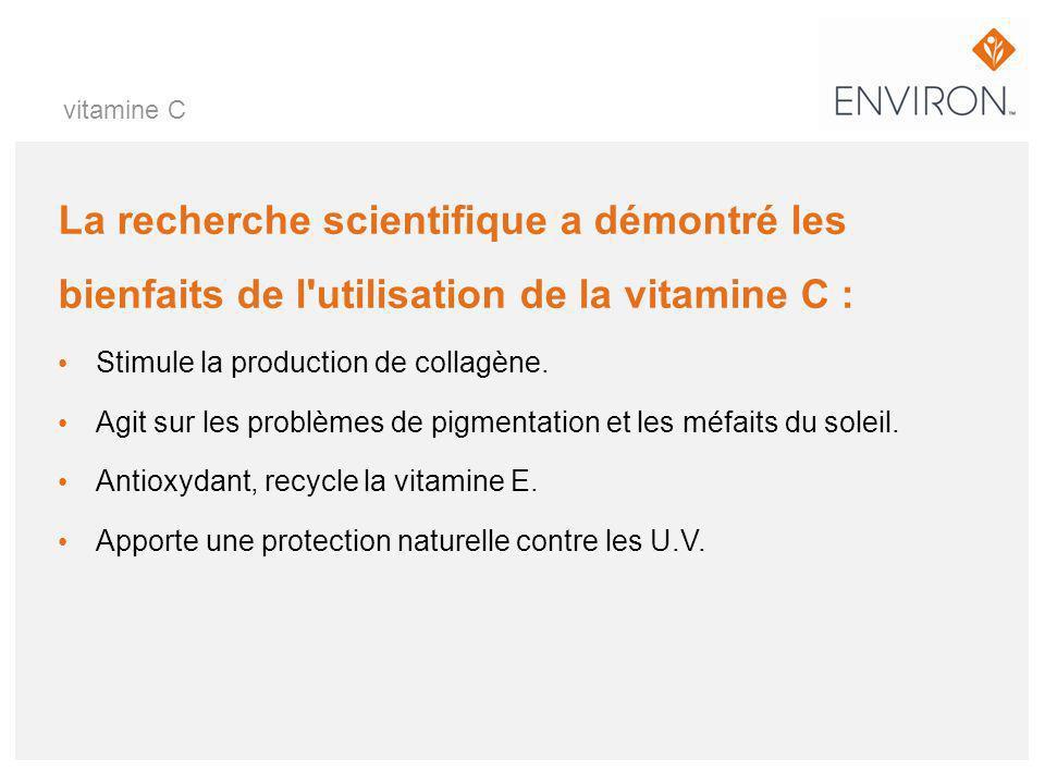 vitamine C La recherche scientifique a démontré les bienfaits de l utilisation de la vitamine C : Stimule la production de collagène.