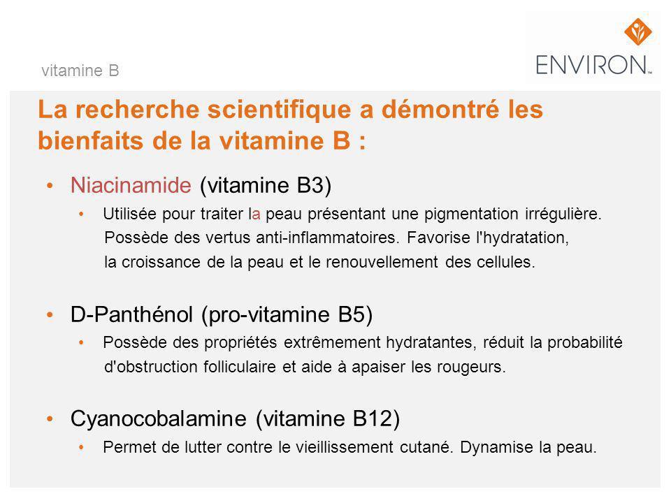 La recherche scientifique a démontré les bienfaits de la vitamine B :