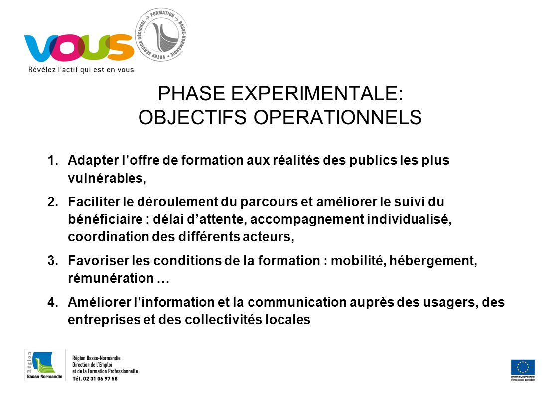 PHASE EXPERIMENTALE: OBJECTIFS OPERATIONNELS