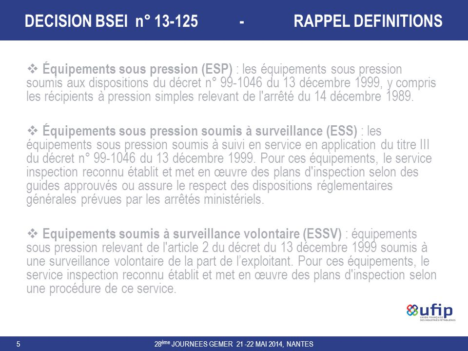DECISION BSEI n° 13-125 - RAPPEL DEFINITIONS