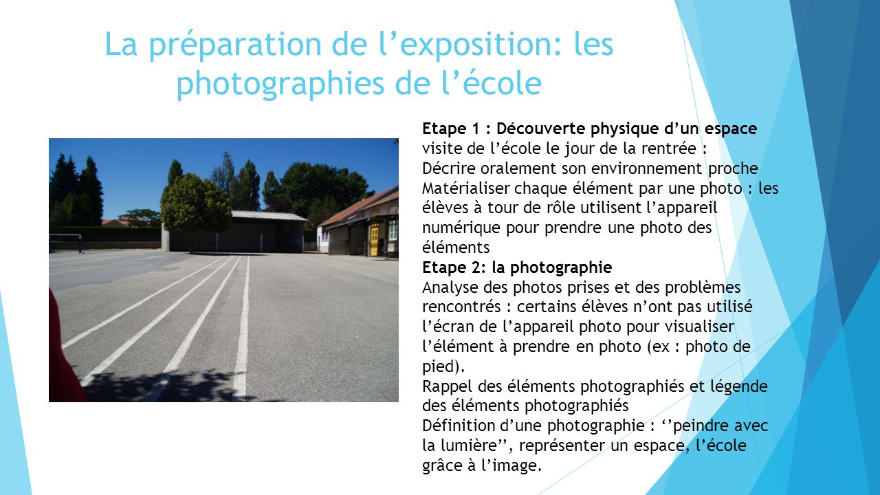 La préparation de l'exposition: les photographies de l'école