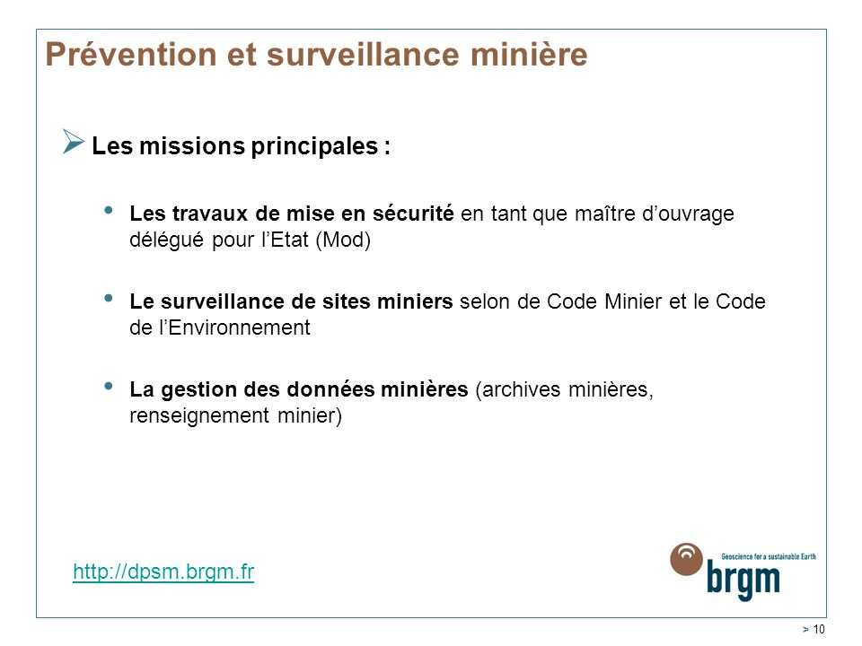 Prévention et surveillance minière
