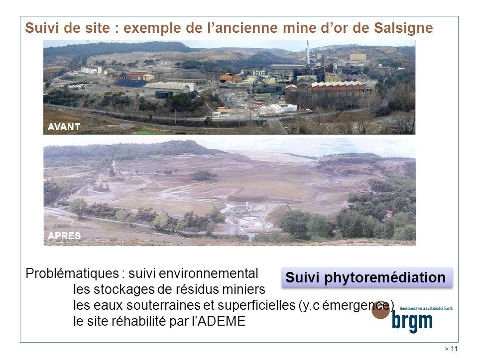 Suivi de site : exemple de l'ancienne mine d'or de Salsigne