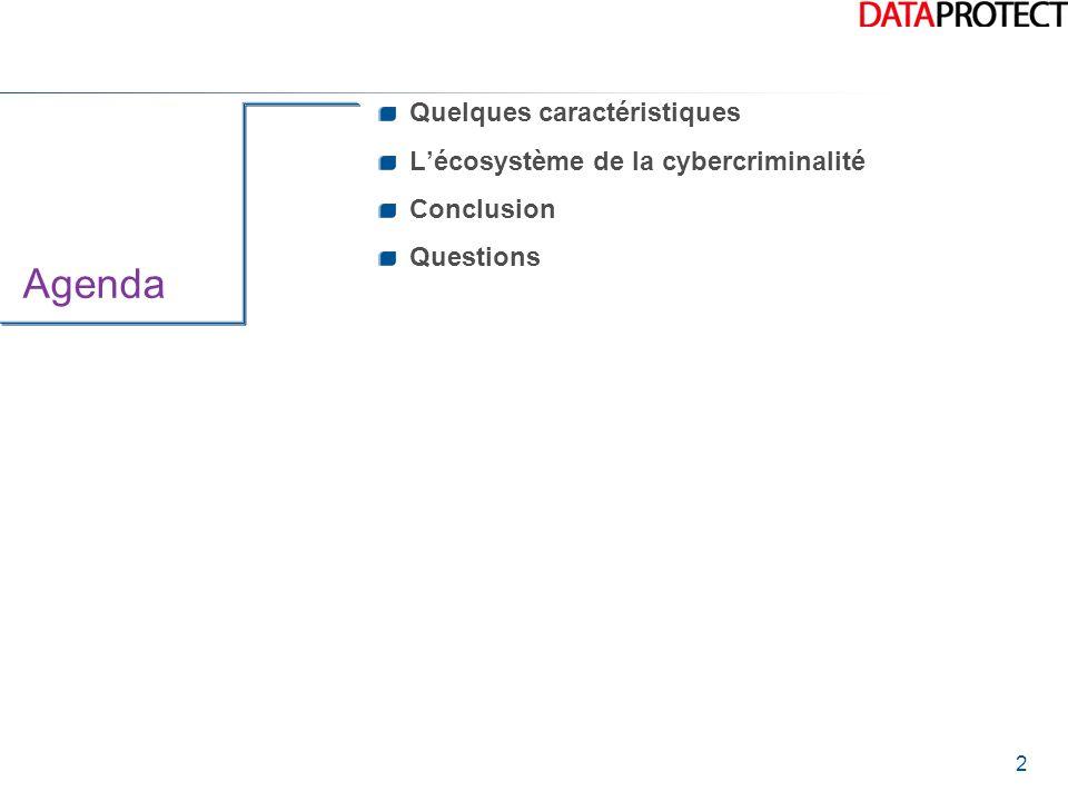 Agenda Quelques caractéristiques L'écosystème de la cybercriminalité
