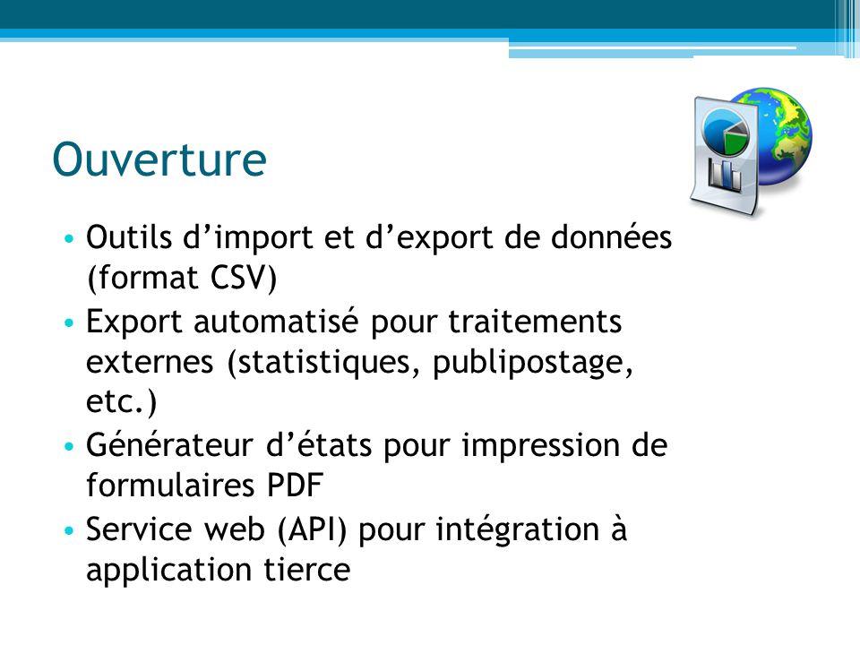 Ouverture Outils d'import et d'export de données (format CSV)
