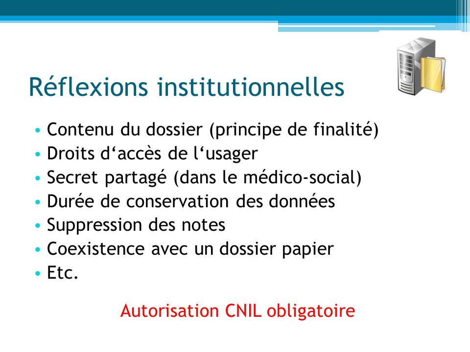 Réflexions institutionnelles
