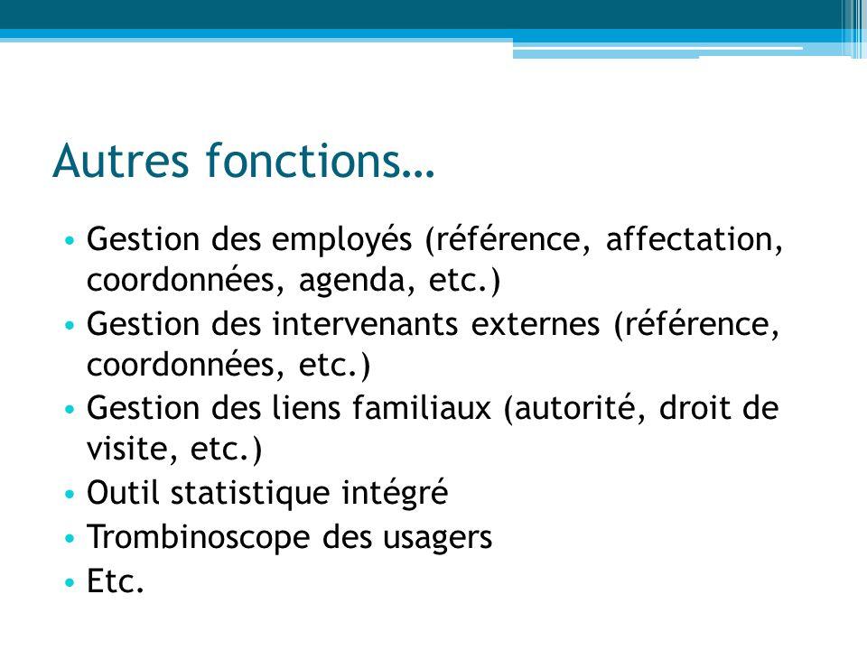 Autres fonctions… Gestion des employés (référence, affectation, coordonnées, agenda, etc.)
