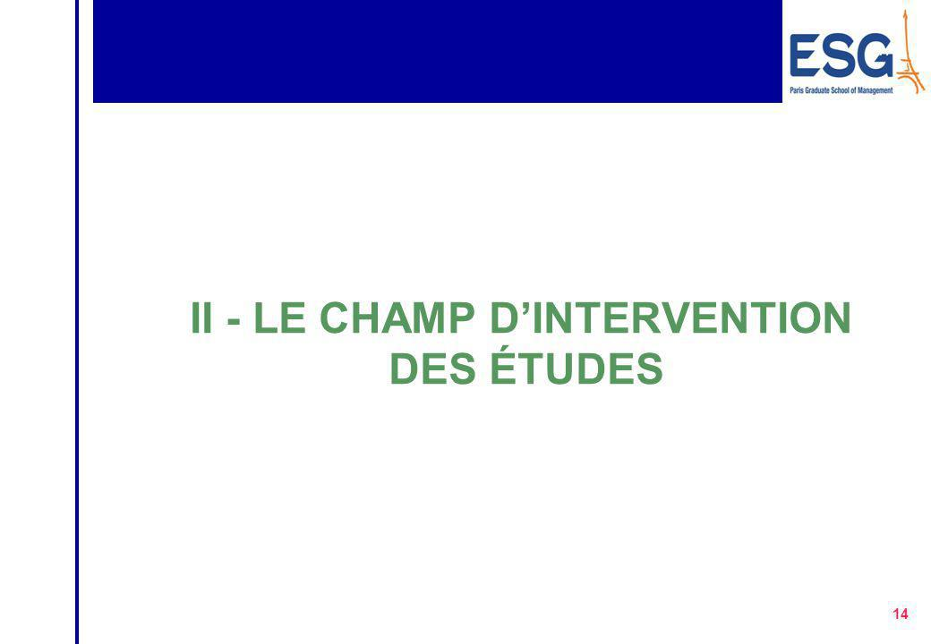 II - LE CHAMP D'INTERVENTION DES ÉTUDES