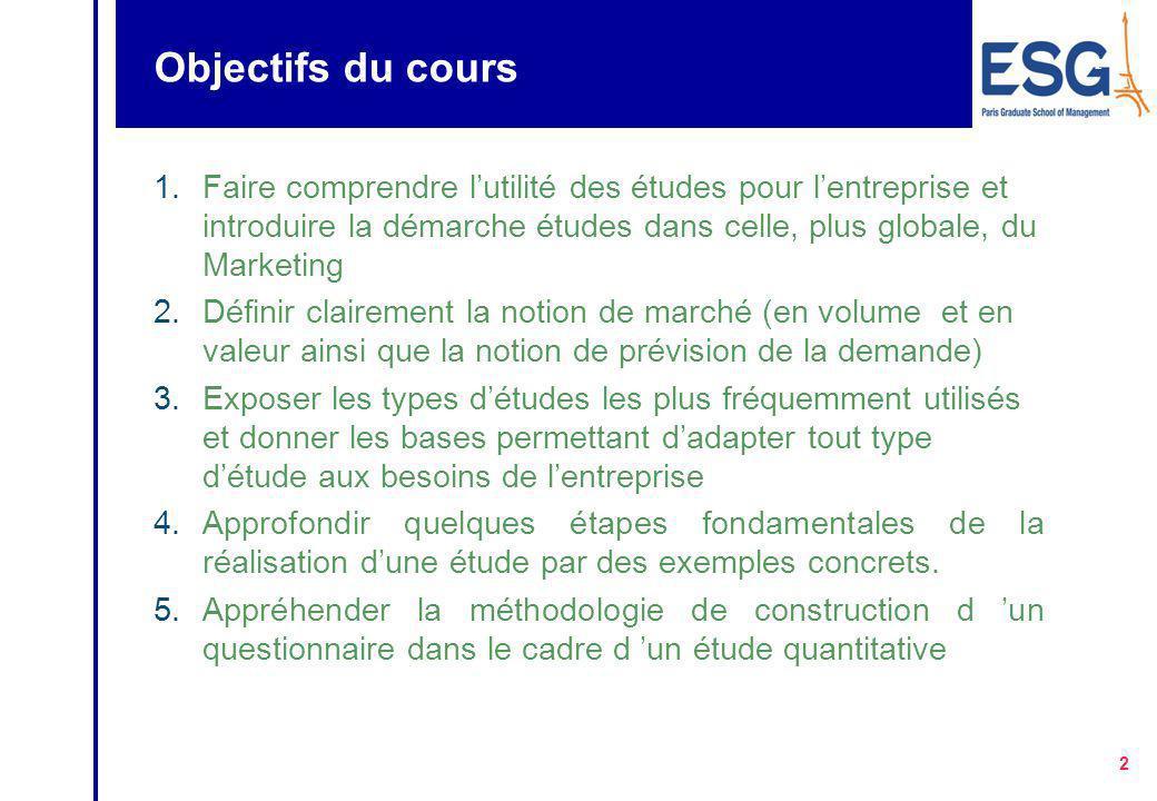 Objectifs du cours Faire comprendre l'utilité des études pour l'entreprise et introduire la démarche études dans celle, plus globale, du Marketing.