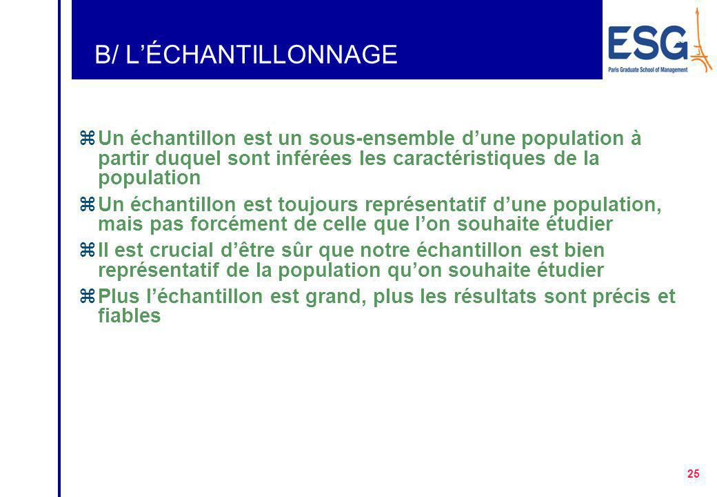B/ L'ÉCHANTILLONNAGE Un échantillon est un sous-ensemble d'une population à partir duquel sont inférées les caractéristiques de la population.