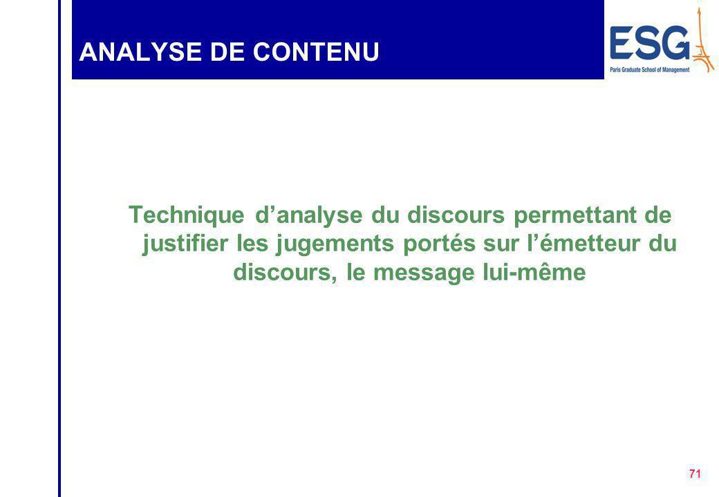 ANALYSE DE CONTENU Technique d'analyse du discours permettant de justifier les jugements portés sur l'émetteur du discours, le message lui-même.