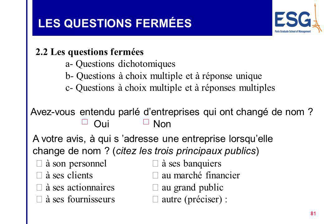 LES QUESTIONS FERMÉES 2.2 Les questions fermées