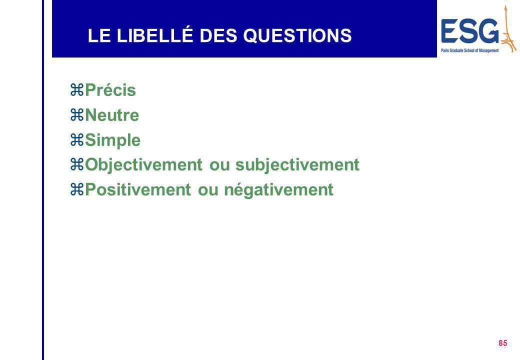 LE LIBELLÉ DES QUESTIONS