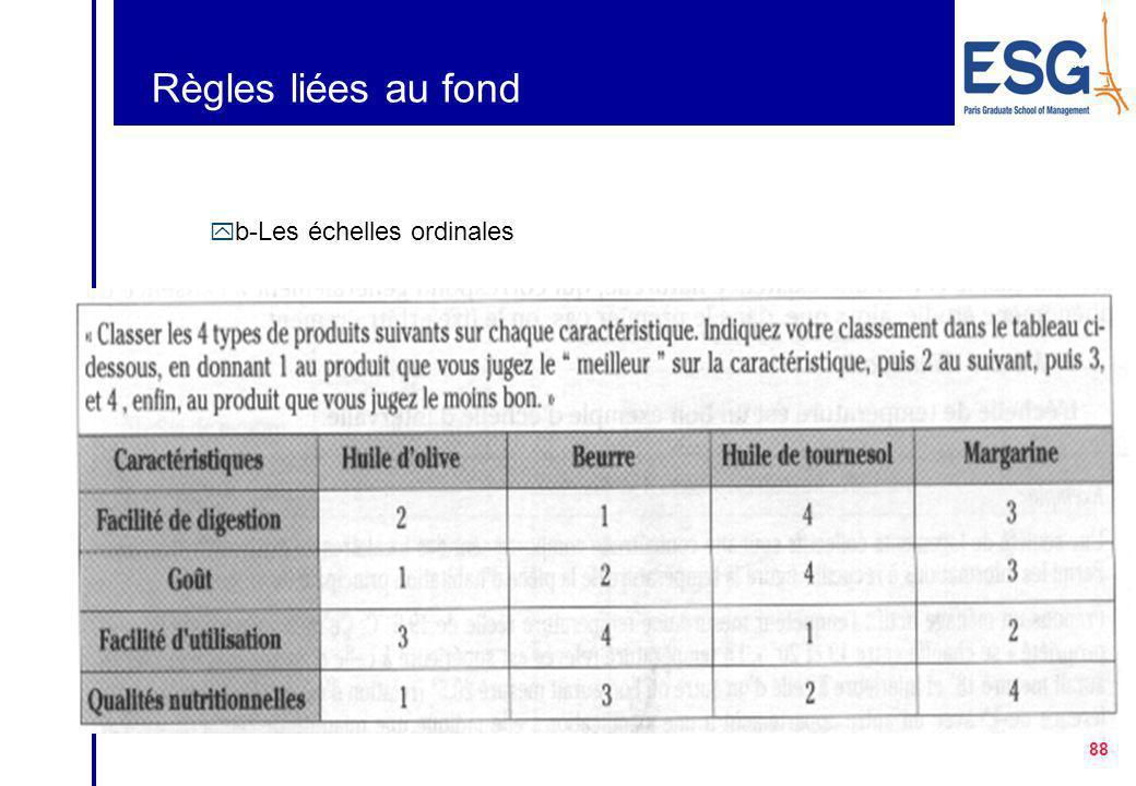 Règles liées au fond b-Les échelles ordinales