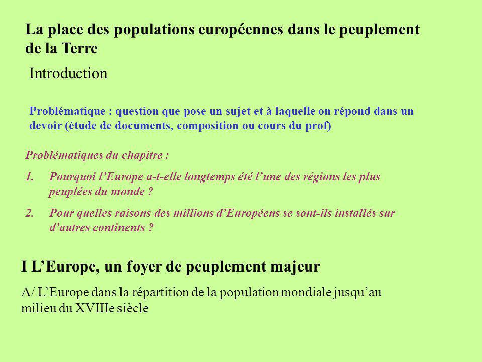 La place des populations européennes dans le peuplement de la Terre