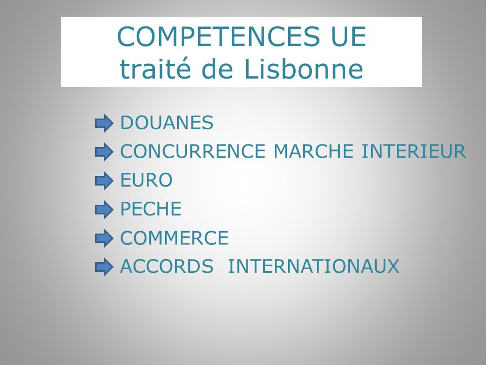 COMPETENCES UE traité de Lisbonne DOUANES CONCURRENCE MARCHE INTERIEUR