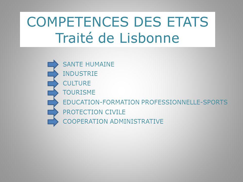 COMPETENCES DES ETATS Traité de Lisbonne SANTE HUMAINE INDUSTRIE
