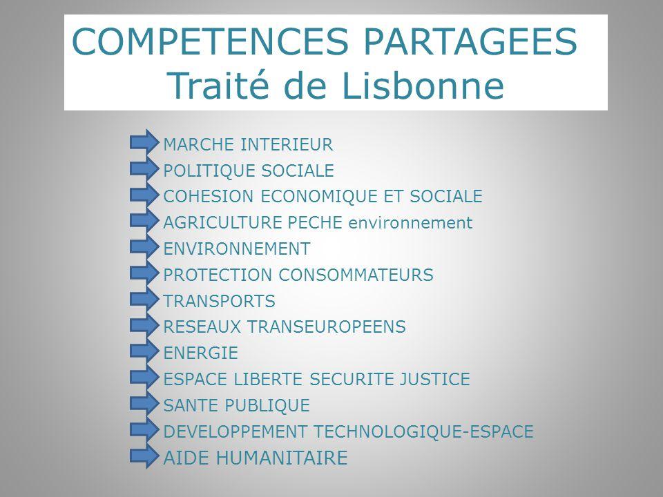 COMPETENCES PARTAGEES Traité de Lisbonne