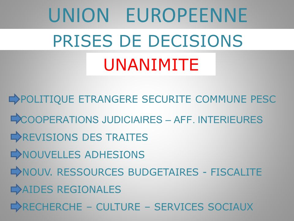 UNION EUROPEENNE PRISES DE DECISIONS UNANIMITE