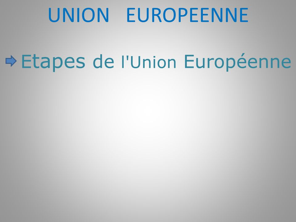 UNION EUROPEENNE Etapes de l Union Européenne