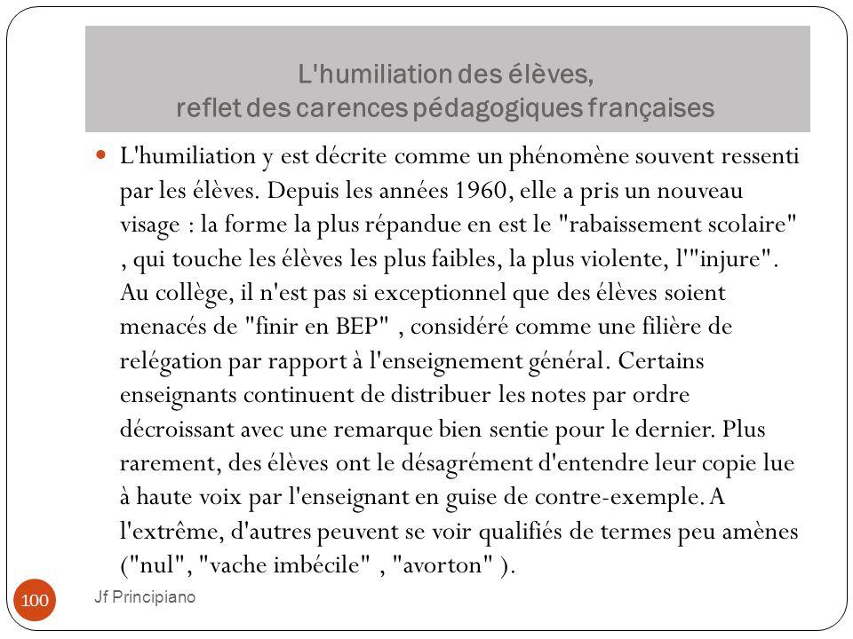 L humiliation des élèves, reflet des carences pédagogiques françaises