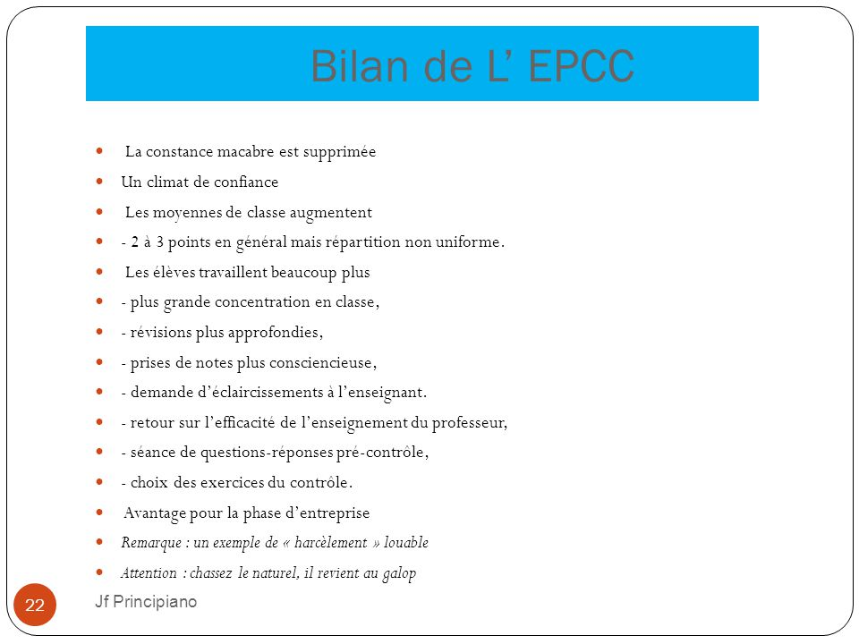 Bilan de L' EPCC La constance macabre est supprimée