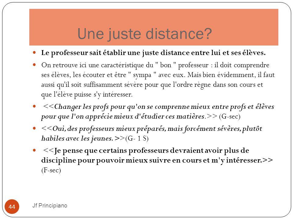 Une juste distance Le professeur sait établir une juste distance entre lui et ses élèves.