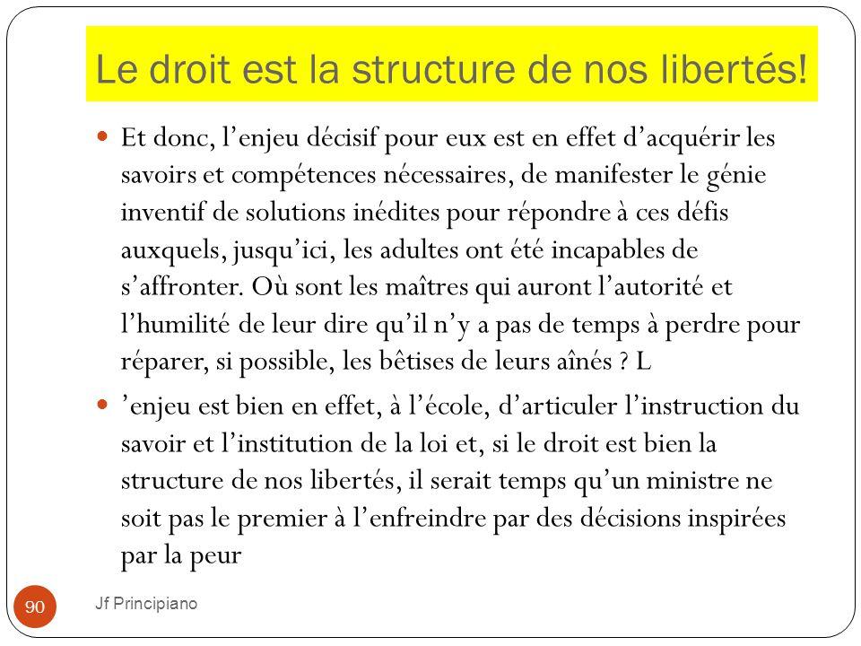 Le droit est la structure de nos libertés!
