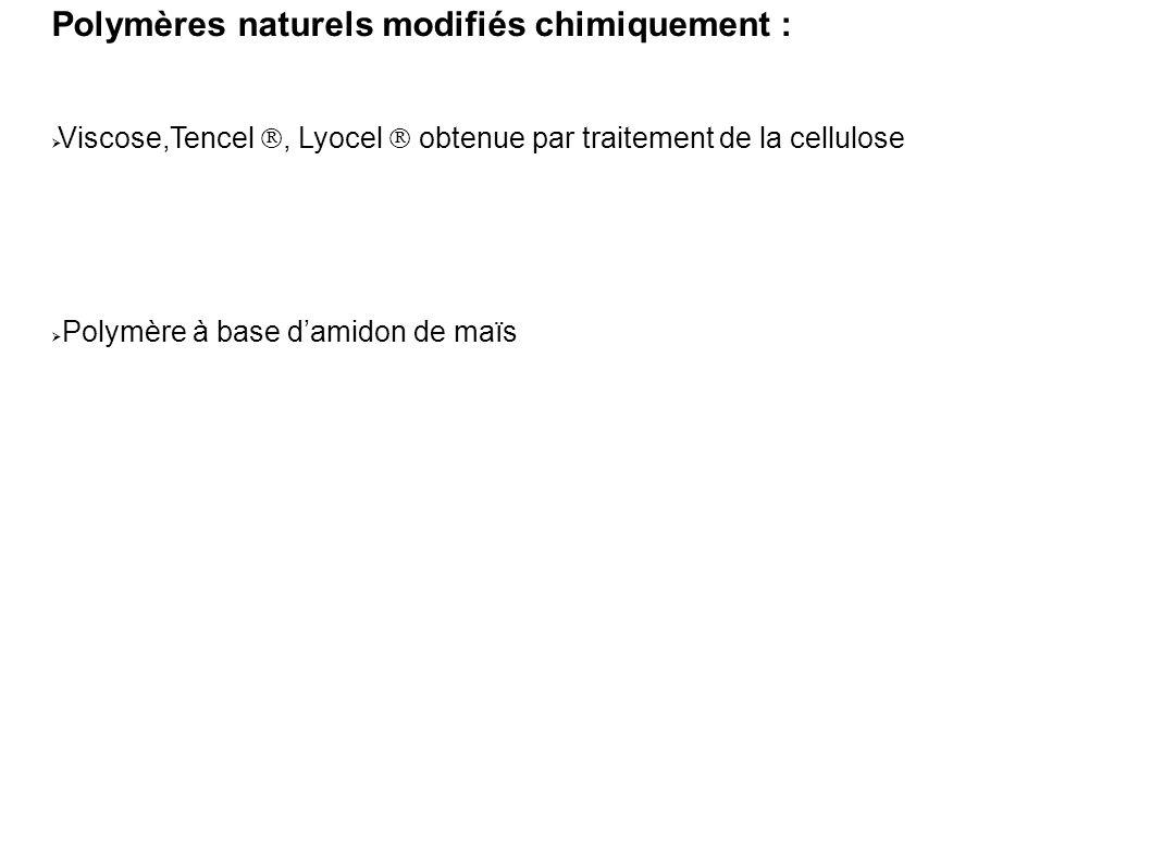 Polymères naturels modifiés chimiquement :