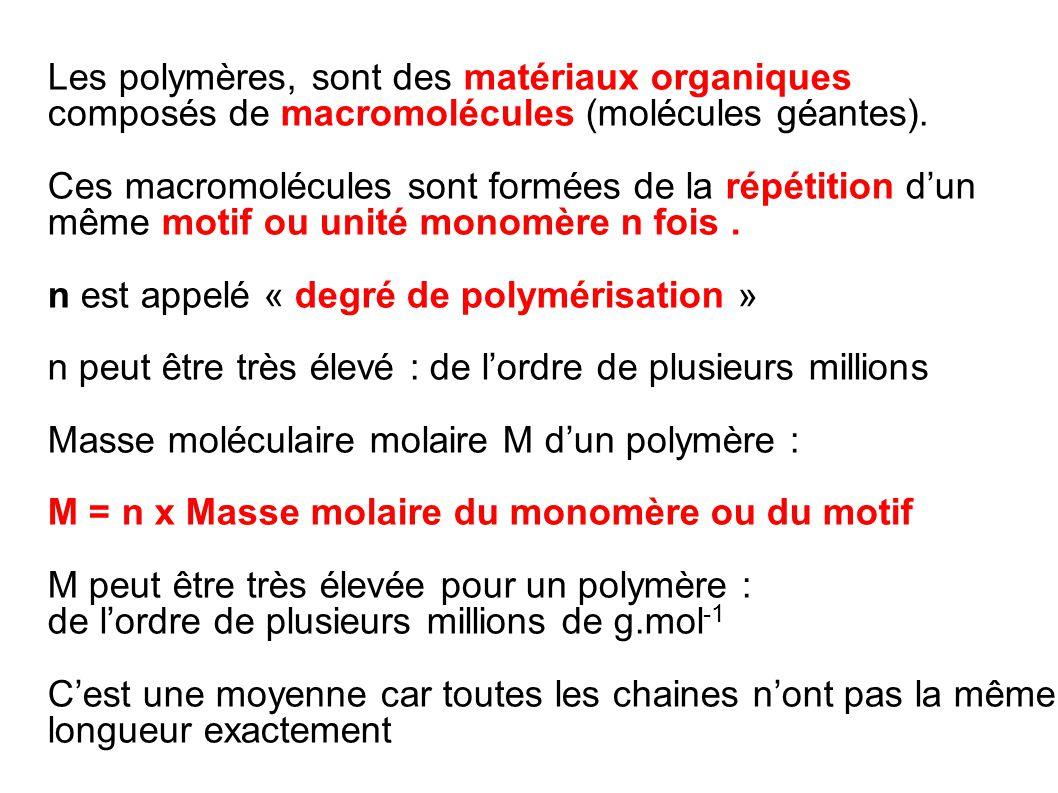 Les polymères, sont des matériaux organiques