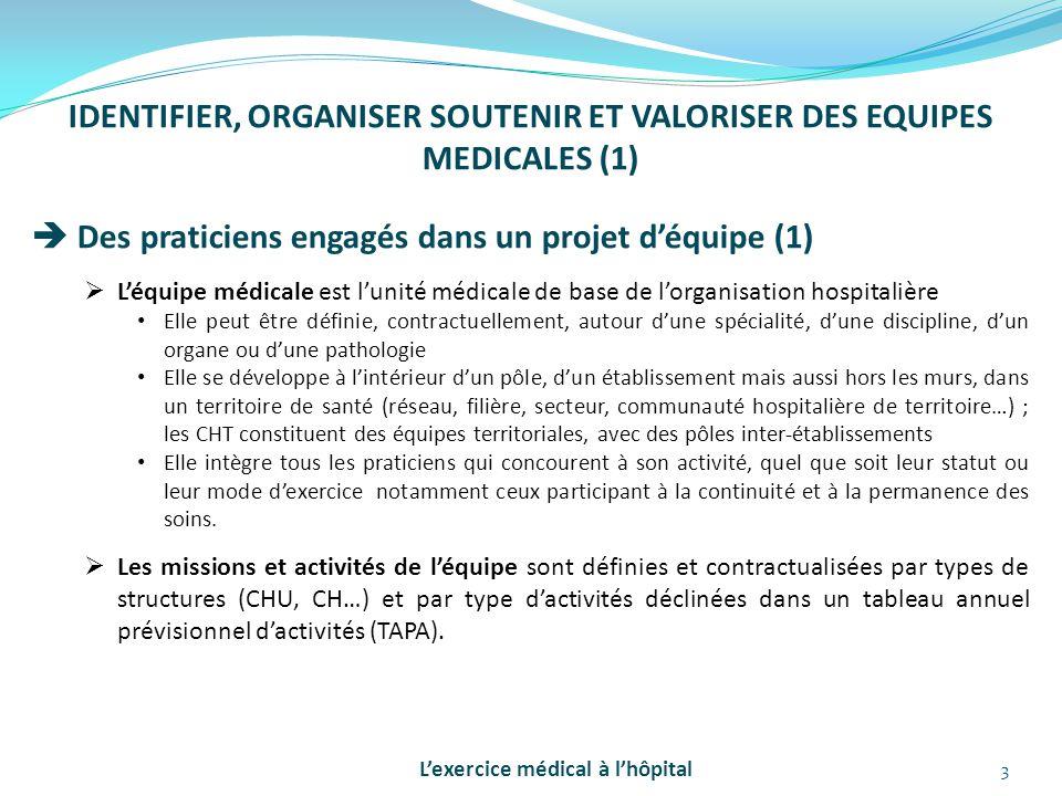 IDENTIFIER, ORGANISER SOUTENIR ET VALORISER DES EQUIPES MEDICALES (1)