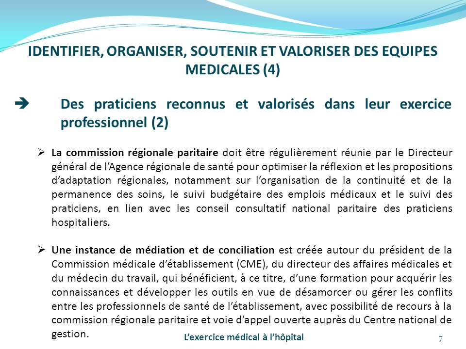 IDENTIFIER, ORGANISER, SOUTENIR ET VALORISER DES EQUIPES MEDICALES (4)