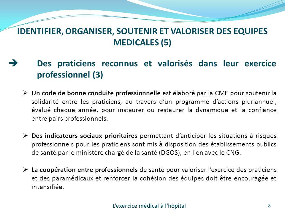 IDENTIFIER, ORGANISER, SOUTENIR ET VALORISER DES EQUIPES MEDICALES (5)