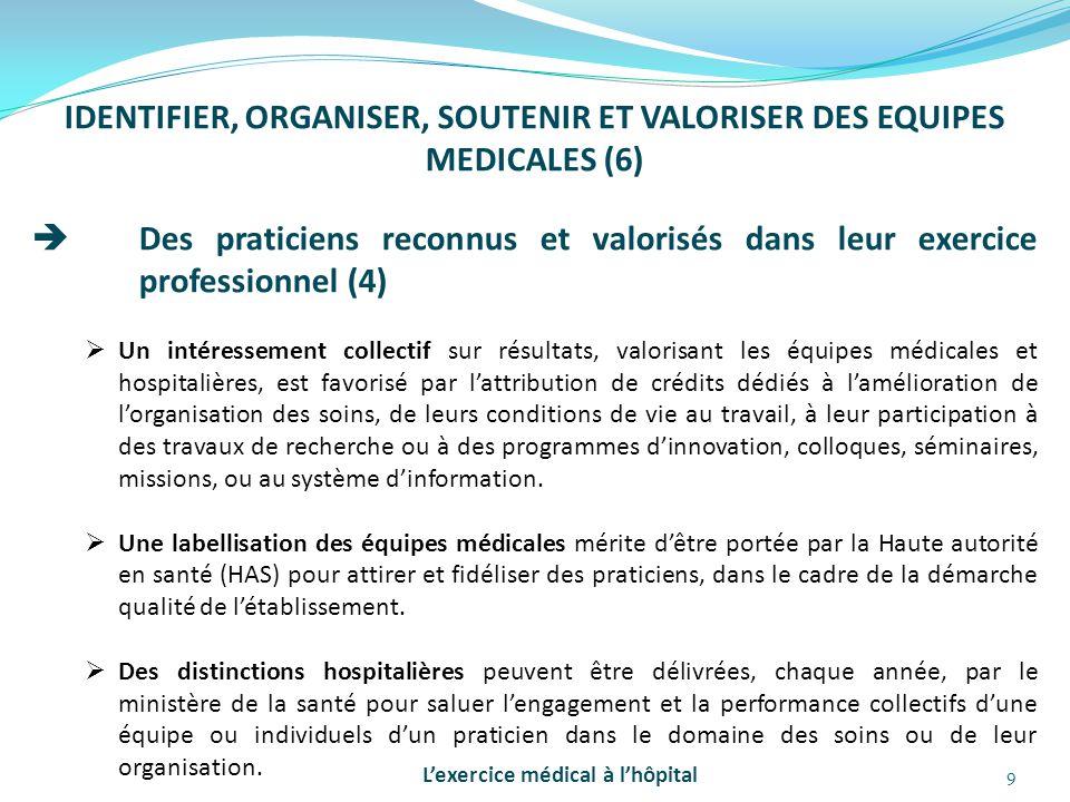 IDENTIFIER, ORGANISER, SOUTENIR ET VALORISER DES EQUIPES MEDICALES (6)