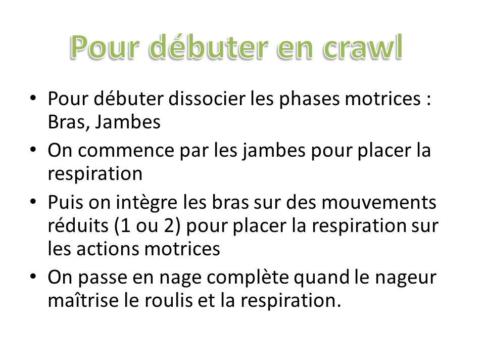 Pour débuter en crawl Pour débuter dissocier les phases motrices : Bras, Jambes. On commence par les jambes pour placer la respiration.