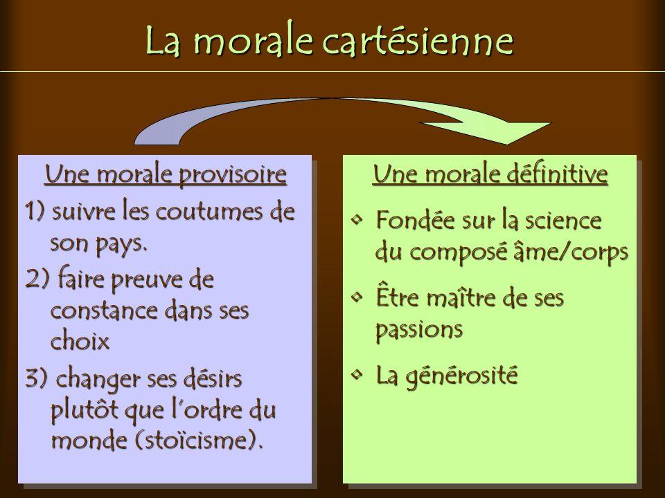 La morale cartésienne Une morale provisoire