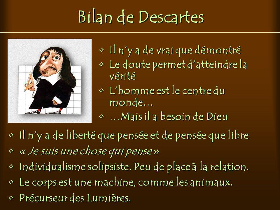 Bilan de Descartes Il n'y a de vrai que démontré