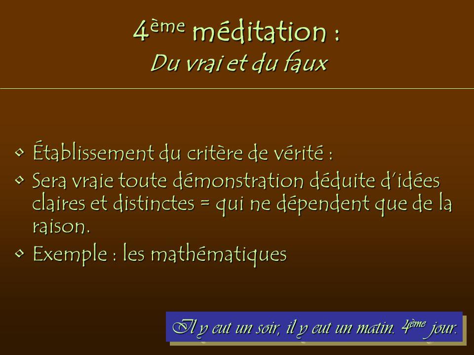 4ème méditation : Du vrai et du faux