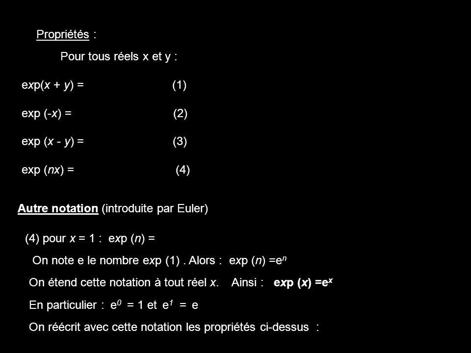 ex-y = Propriétés : Pour tous réels x et y : exp(x + y) = (1) exp (-x) = (2)
