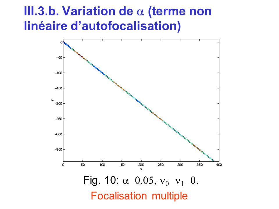III.3.b. Variation de a (terme non linéaire d'autofocalisation)